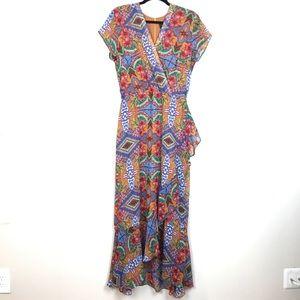 JUST TAYLOR floral faux wrap summer dress 12 flowy